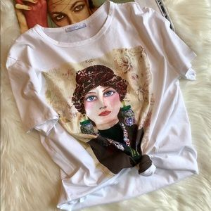 ZARA Colorful Printed Lady Face Tee Shirt L